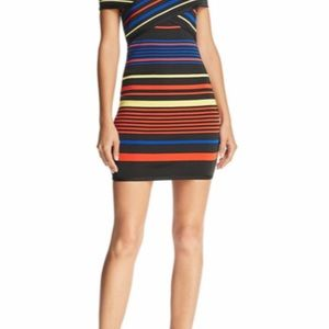 Wow Couture off shoulder striped multi color dress